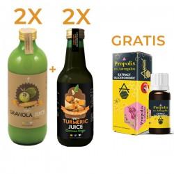 2 X Graviola Suc + 2 X Turmeric Suc + Apicol Propolis cu Astragalus extract glicerohidric GRATIS