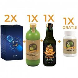 2 Onco Blue Vital + 1 Graviola Suc + 1 Turmeric Suc + cu 1 Graviola 60 cps GRATIS